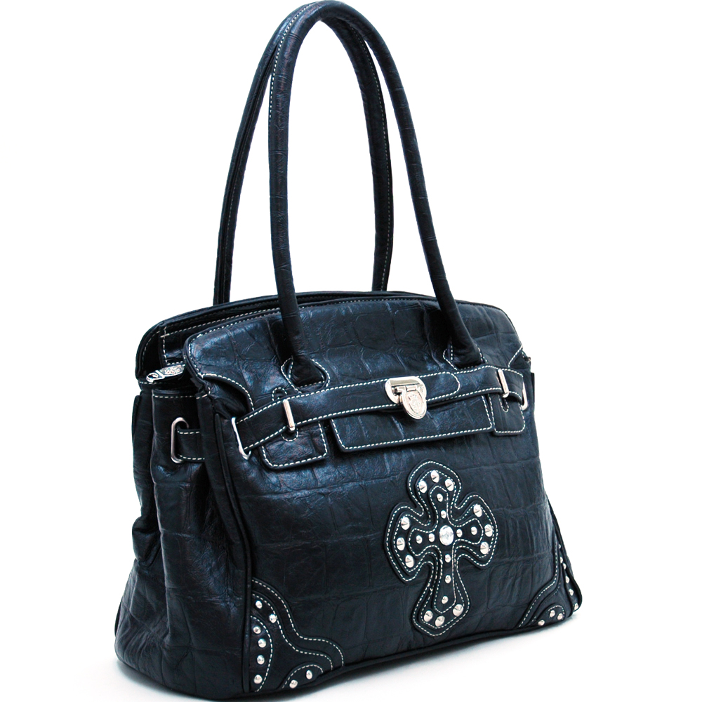Croco Textured Fashion Tote w/ Rhinestone Cross