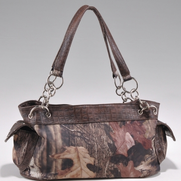 Camouflage studded croco trim shoulder bag w/ chain handles
