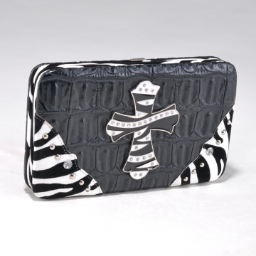 Alyssa Croco Textured Wallet with Zebra Trim and Rhinestone Cross-Black
