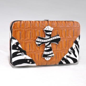 Alyssa Croco Textured Wallet with Zebra Trim and Rhinestone Cross-Dark Tan