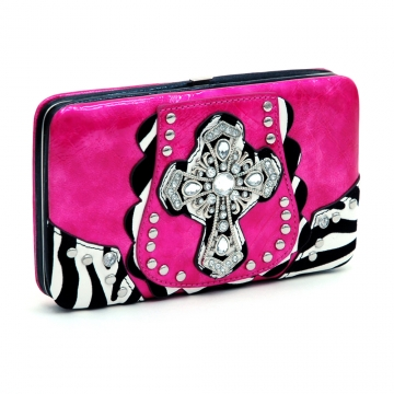 Rhinestone Cross Frame Wallet w/ Zebra Trim and Stud Accents