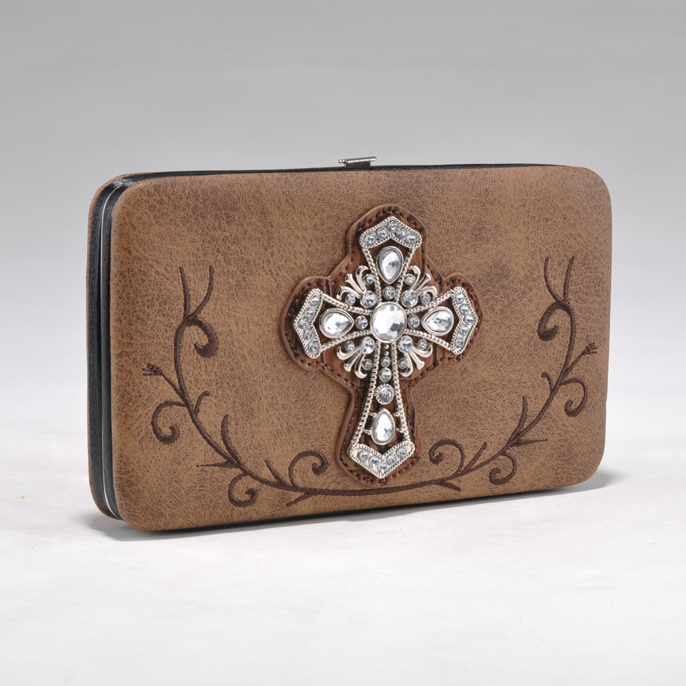 Alyssa Rhinestone Cross Frame Wallet with Zebra Trim and Stud Accents