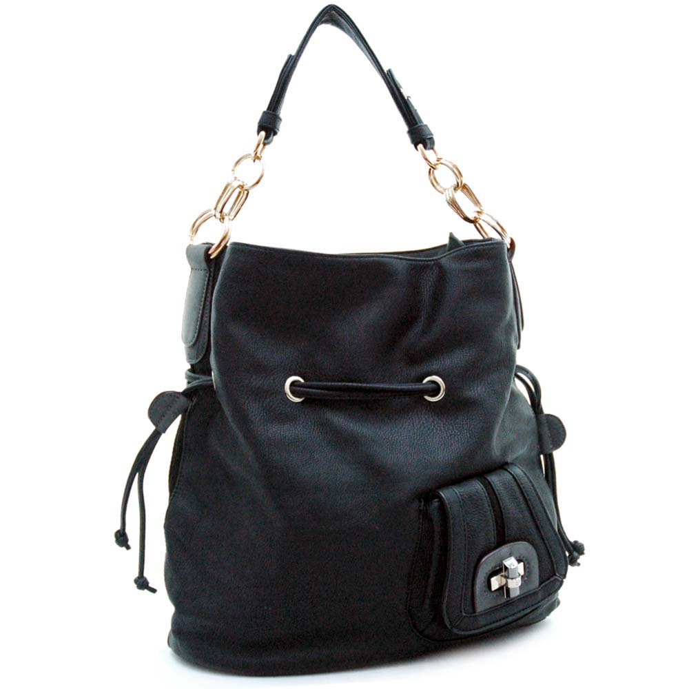 Designer inspired hobo bag with drawstring & chain handle accents