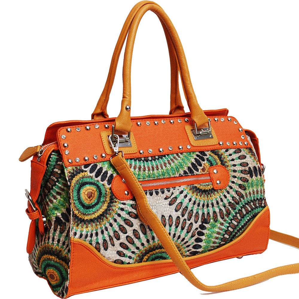 Studded Retro Shoulder Bag with Psychadelic Design - Orange/Green