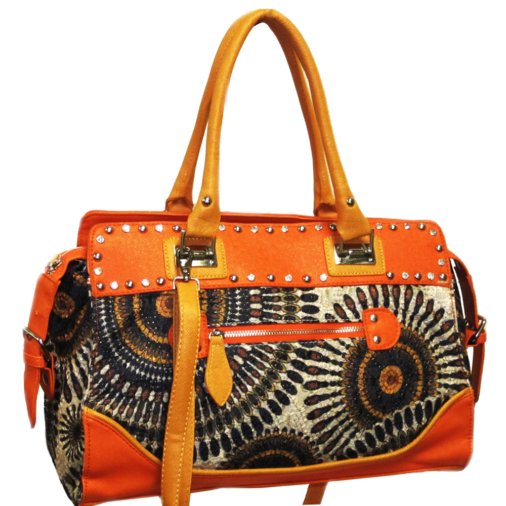 Studded Retro Shoulder Bag with Psychadelic Design - Orange/Black