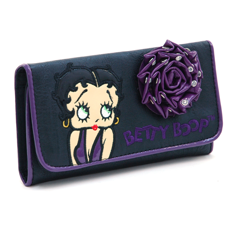 Betty Boop® Checkbook Wallet w/ Rhinestone Studded Rosette Accent