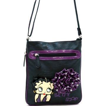 Betty Boop® Messenger Bag with Rhinestone Studded Rosette Accent-Purple