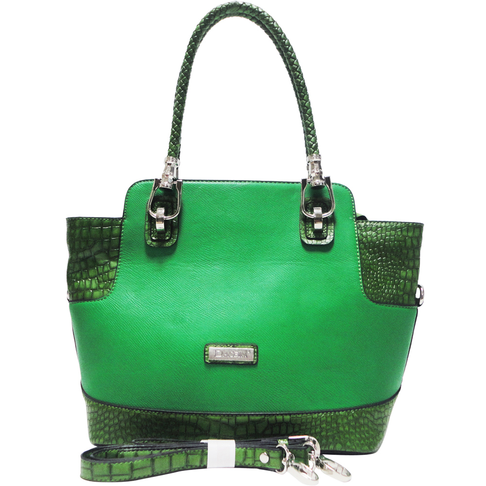 Dasein Croco Trim Tote Bag w/ Braided Shoulder Straps