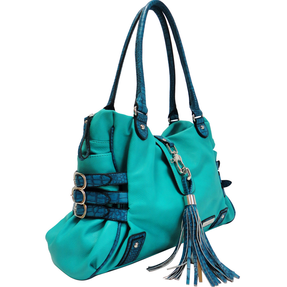 Dasein Croco Trim Shoulder Bag w/ Belted and Tassel Accents