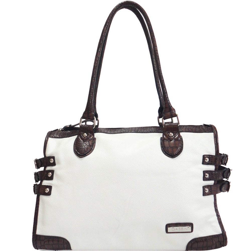 Dasein Croco Trim Shoulder Bag w/ Belted Accents