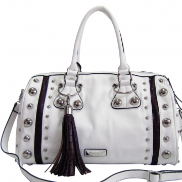 Dasein Large Studded Satchel w/ Croco Accents and Tassel