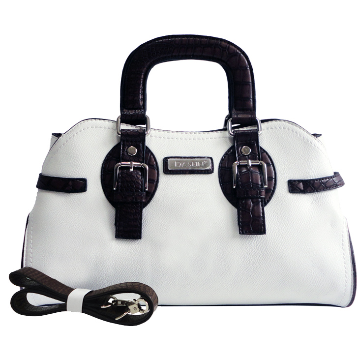 Dasein Petite Satchel with Croco Trim and Attachable Shoulder Strap