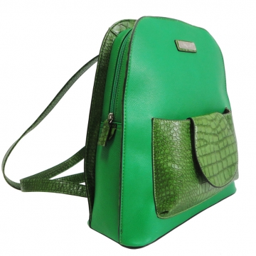 Dasein Trendy Backpack Croco Print Accent-Green