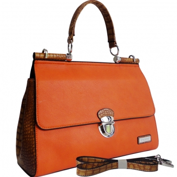 Dasein Croco Texture Briefcase Style Satchel Bag with Front Buckle Accent-Orange/Tan Trim