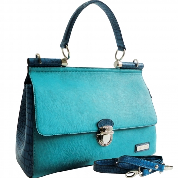 Dasein Croco Texture Briefcase Style Satchel Bag with Front Buckle Accent-Blue