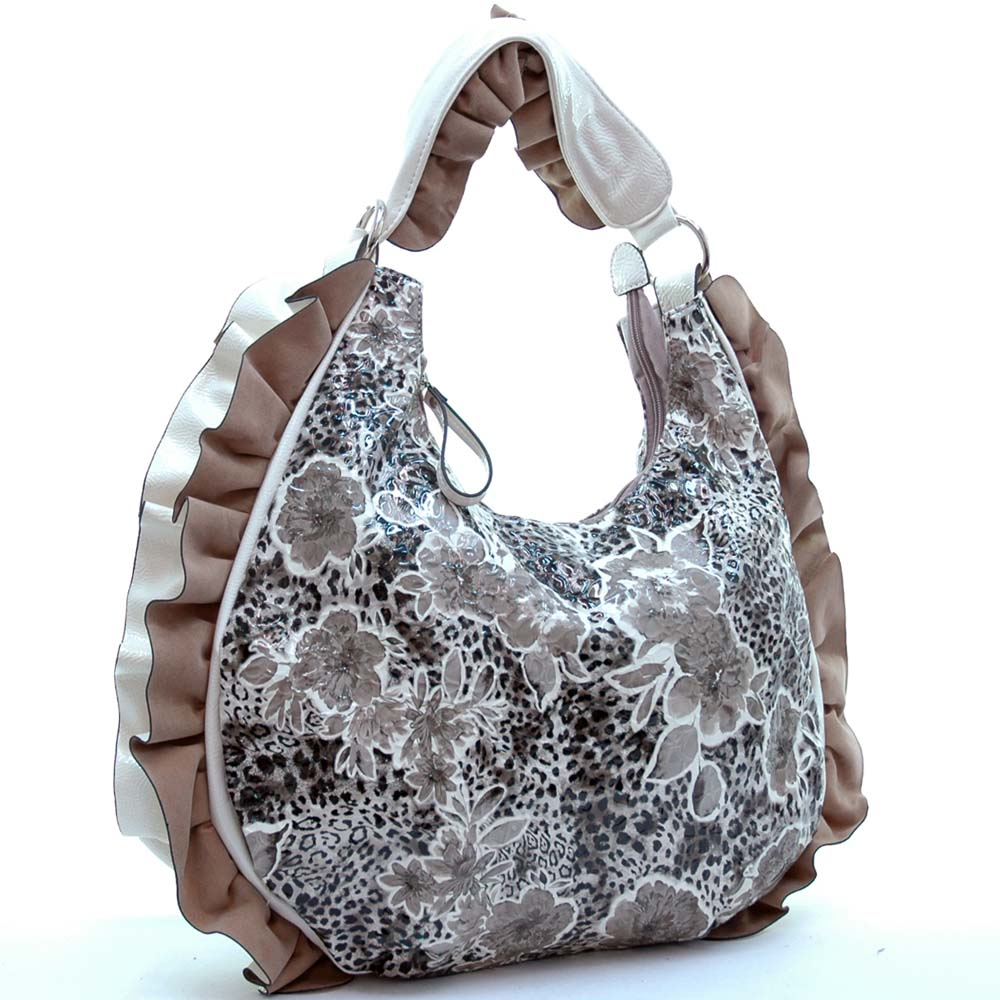 Dasein Floral Printed Hobo Bag with Ruffles and Leopard Accent - Black