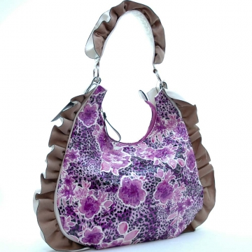 Dasein Floral Printed Hobo Bag with Ruffles and Leopard Accent-Purple
