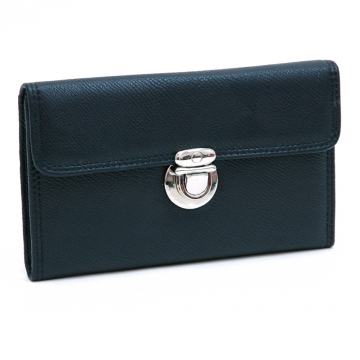 Dasein Faux Leather Tri-fold Checkbook Wallet with Buckle-Black