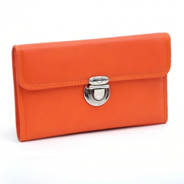 Dasein Faux Leather Tri-fold Checkbook Wallet with Buckle-Orange