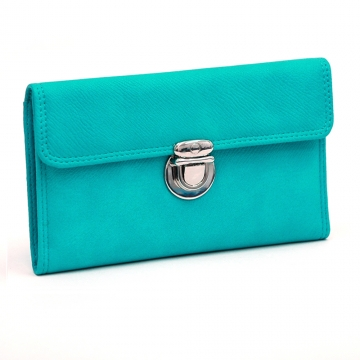 Dasein Faux Leather Tri-fold Checkbook Wallet with Buckle-Turquoise