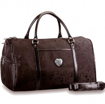 Dasein Fashion Jacquard Heart Print Luggage / Travel Bag with Croco Embossed Trim-Brown