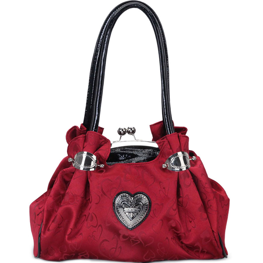 Heart Inspired A-Frame Shoulder Bag w/ Croco Trim