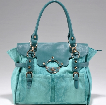 Emperia Trendy Belted Snakeskin Briefcase Style Shoulder Bag-Light Blue