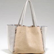 Large Two-Toned Fashion Tote Bag with Zippered Accents