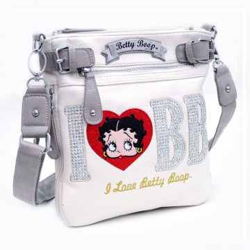 Betty Boop® Cute Messenger Bag with Rhinestone Accent-White