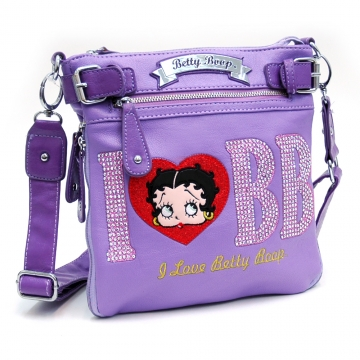 Betty Boop® Cute Messenger Bag with Rhinestone Accent-Lavender