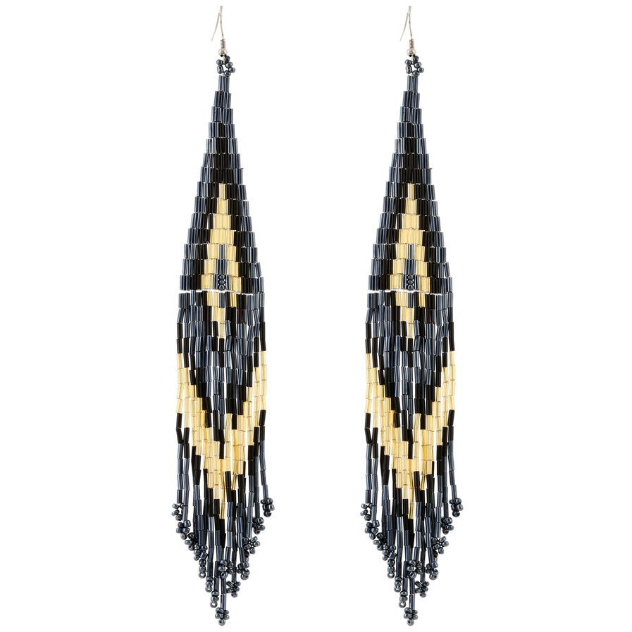 Chandelier Style Beaded Fringe Earrings