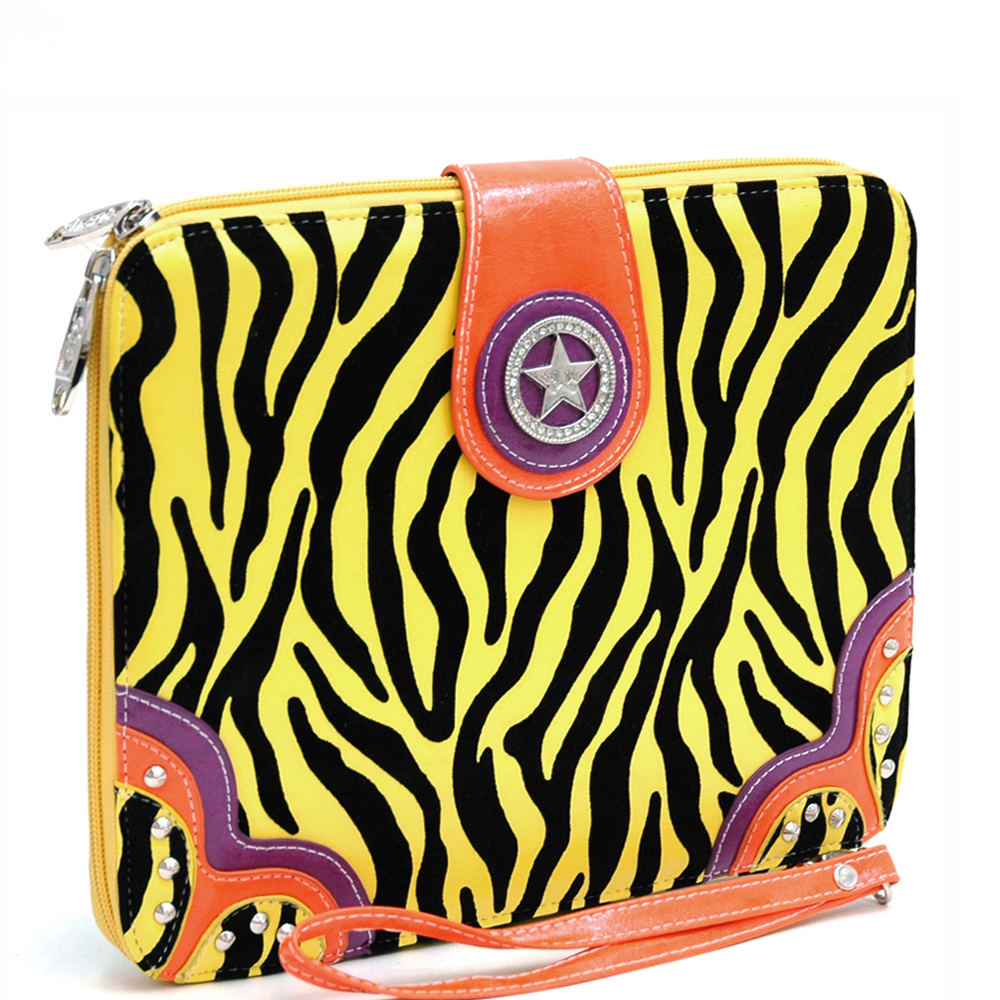 Zebra Print iPad/Tablet Case  Rhinestone Star Accent