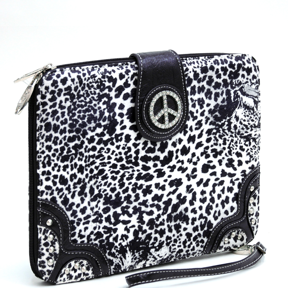 Leopard Print iPad/Tablet Case / Rhinestone Rhinestone Peace Sign