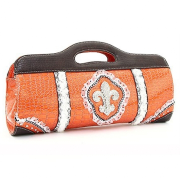 Patent Croco Clutch w/ Fleur de Lis and Rhinestone Accents