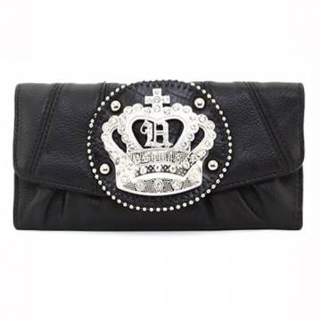 Ustyle Rhinestone Crown Sign Tri-fold Wallet-Black