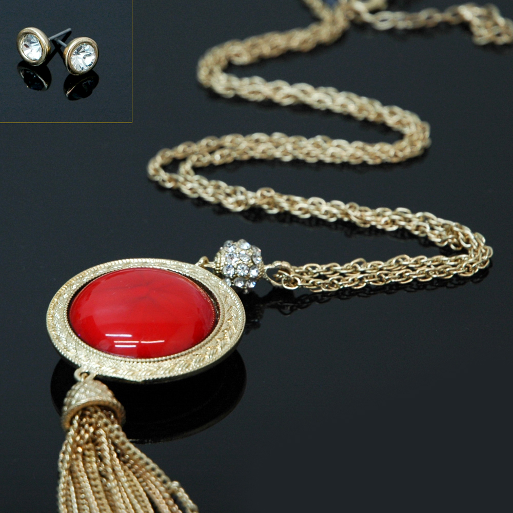 Long Chain Necklace With Color Stone & Rhinestone Earrings Set
