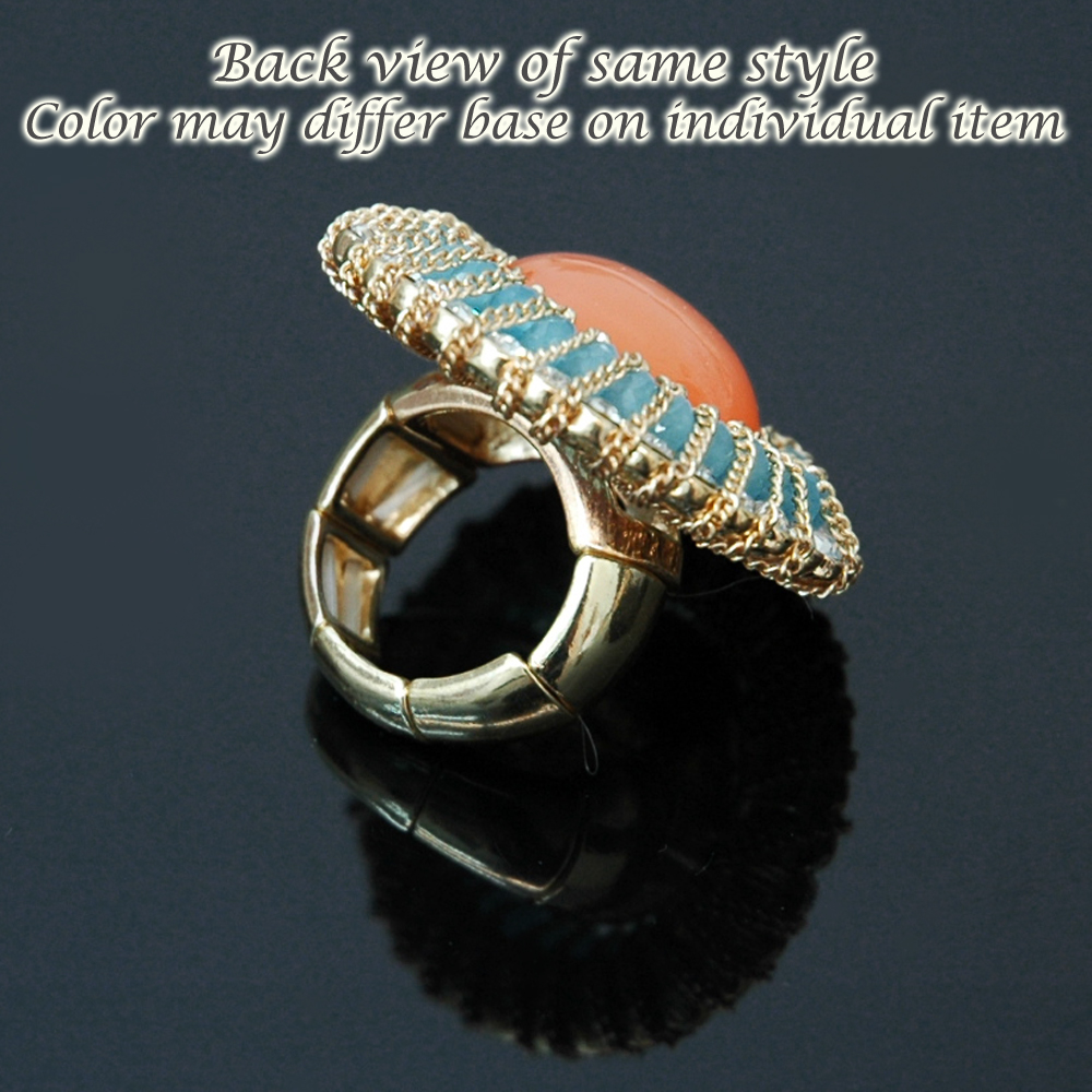 Fashion Rhinestone Ring w/ Large Stone Center