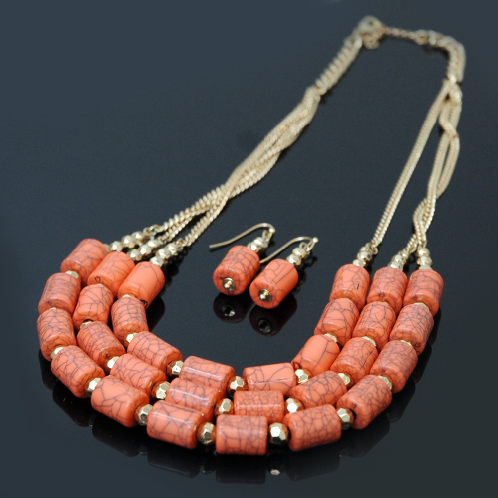 Boho Chic Cylinder Stone Necklace w/ Earrings Set
