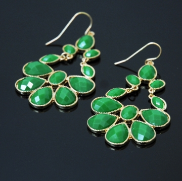 Dangle Earrings w/ Jeweled Rain Drop Design Green