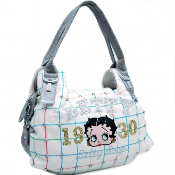 Betty Boop® Shoulder Bag with Rhinestones and Grid Design-White