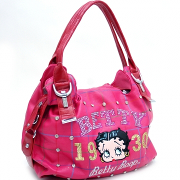 Betty Boop® Shoulder Bag with Rhinestones and Grid Design-Fuchsia