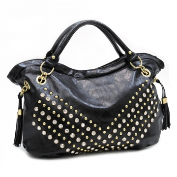 Rhinestone studded hobo bag with decorative tassels