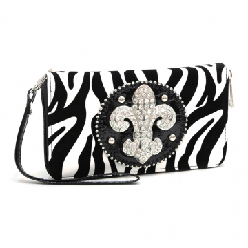 Ustyle Rhinestone Fleur De Lis Sign Checkbook Wallet with Wristlet and Shoulder Strap-Black/White