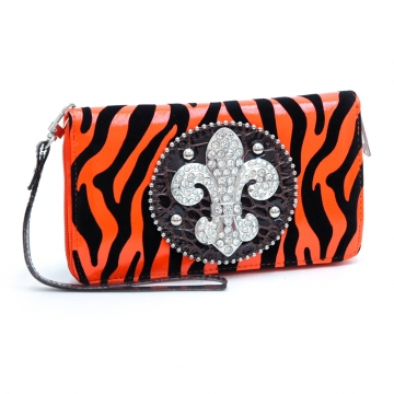 Ustyle Rhinestone Fleur De Lis Sign Checkbook Wallet with Wristlet and Shoulder Strap-Black/Orange