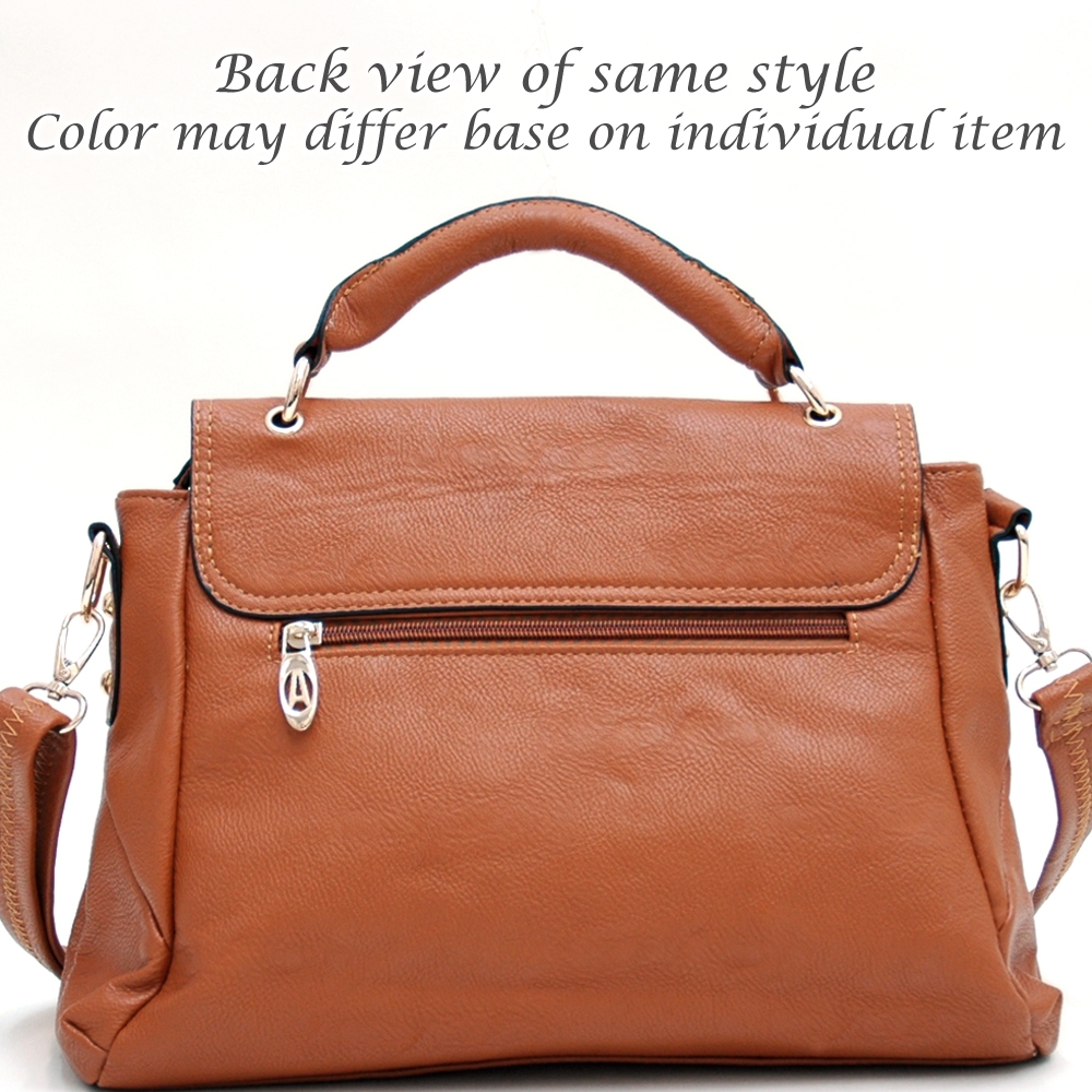 Asymmetric Pleated Satchel with Front Twist-lock