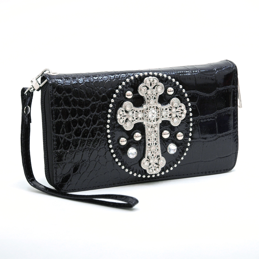 Rhinestone cross accent floral print checkbook wallet