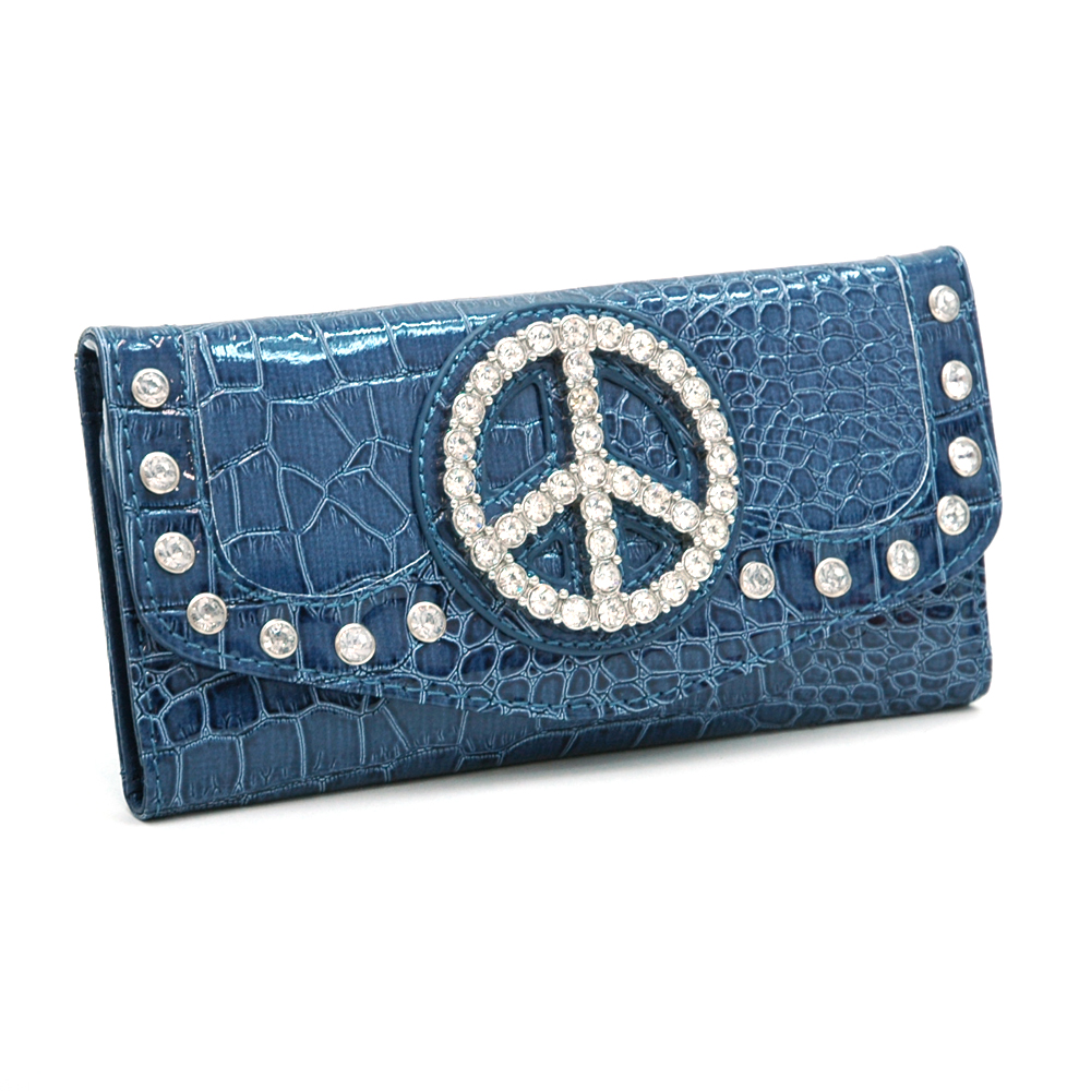 Rhinestone Peace  Sign Checkbook Wallet