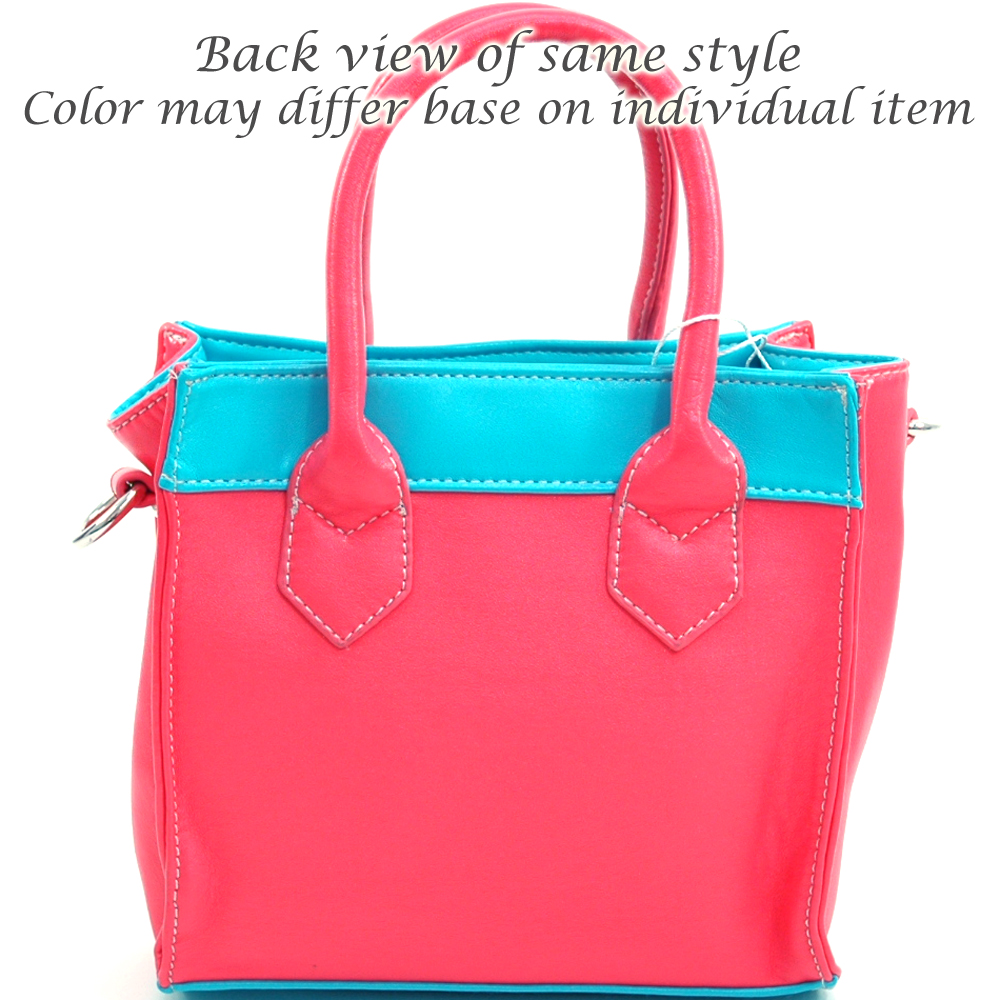 Petite Block Color carrying tote w/ detachable crossbody strap