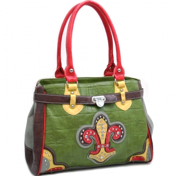 Ustyle Croco Textured Fashion Tote with Rhinestone Fleur de Lis-Multi-Green