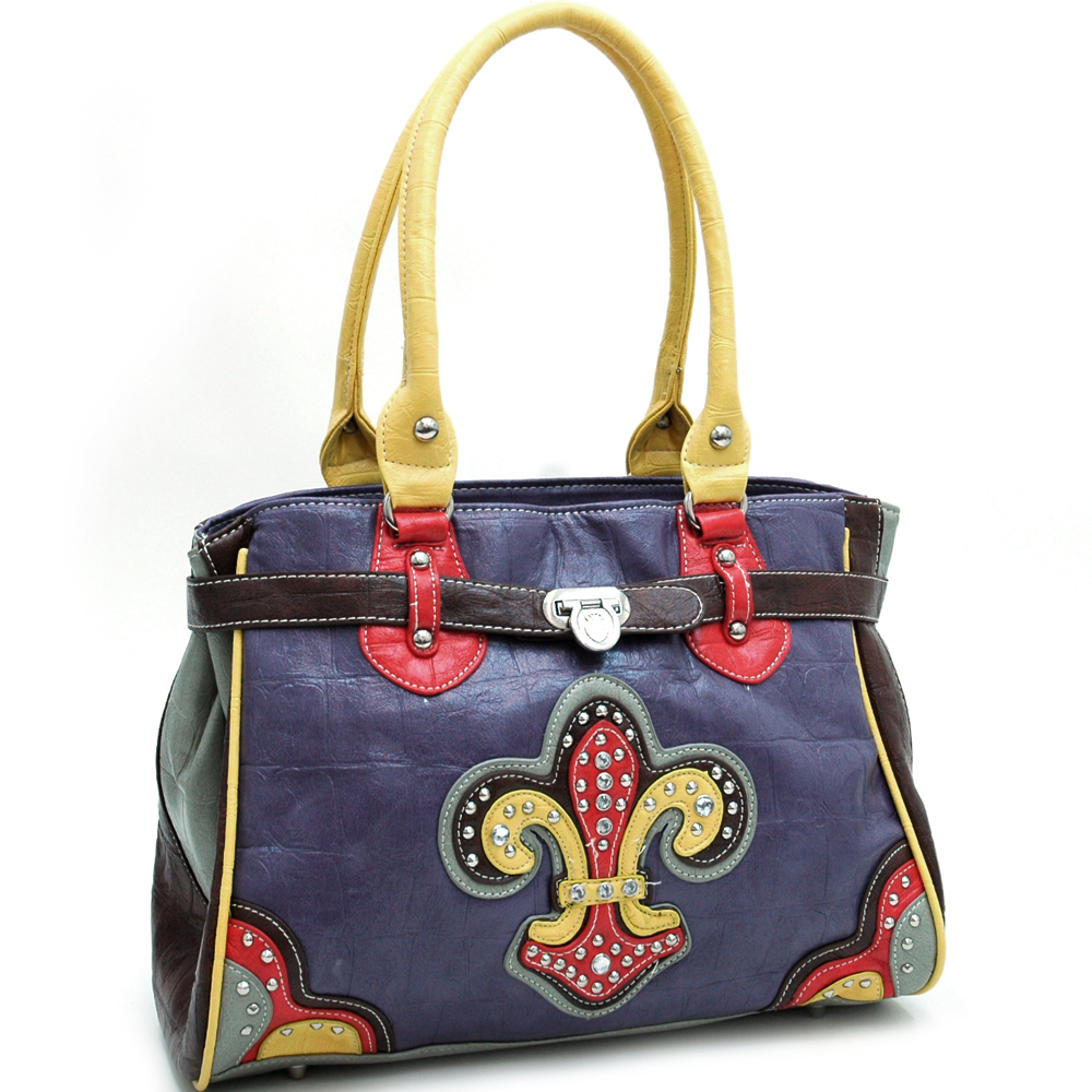 Ustyle Croco Textured Fashion Tote with Rhinestone Fleur de Lis-Multi-Purple